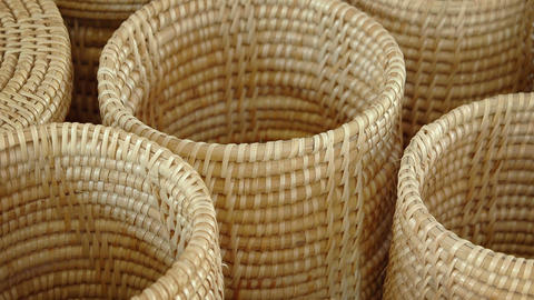 Traditional Hand Woven Baskets in a Public Market. Video Footage
