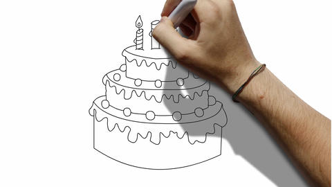 Cake Drawing Waitboard Animation Greeting Card CG動画素材