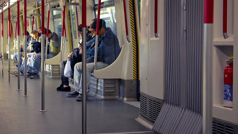 Commuters on a Subway Train. FullHD video Footage