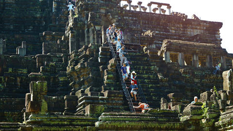 Tourists on Baphuon Temple at Angkor. Cambodia. Video Live Action