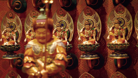 Tiny Idols at Singapore's Buddha Tooth Relic Temple. Video FullHD Footage
