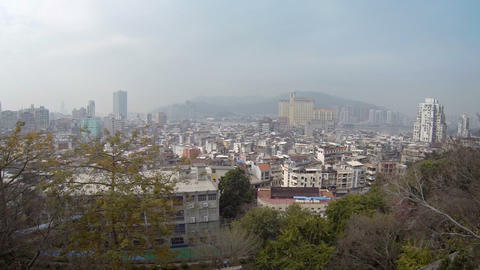 Macau. China from Fortaleza de Monte on a Hazy Day. Video FullHD Footage