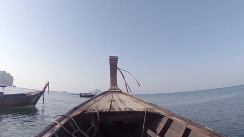 Riding a Traditional Longtail Boat in Thailand. Video FullHD Footage