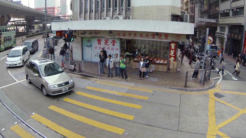 Abstract. slow motion clip of typical urban traffic in Hong Kong. Video Footage