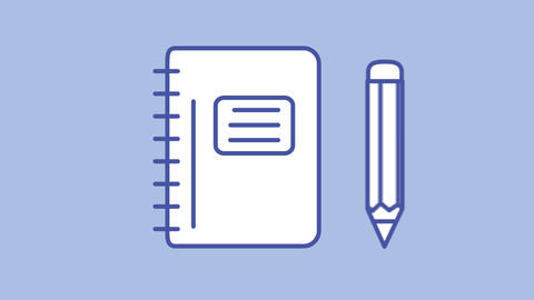 Diary with pencil line icon on the Alpha Channel Animation