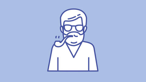 Man with pipe line icon on the Alpha Channel Animation