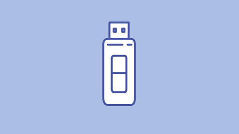 Flash drive line icon on the Alpha Channel Animation