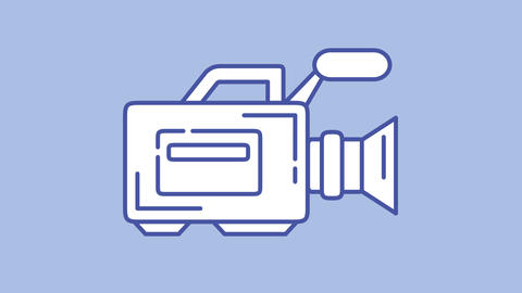 Videocamera line icon on the Alpha Channel Animation