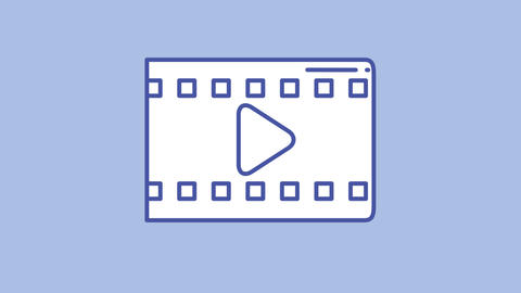 Videofilm line icon on the Alpha Channel Animation