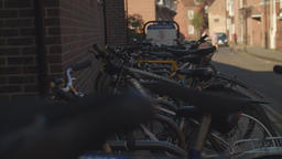 City cycle parking rack scene stock footage Live Action
