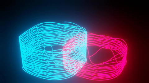 Doodle neon 3d objects on black background. Rendering of two wire abstract Animation