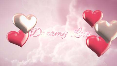 Animated closeup Dreamy Love text and motion romantic heart on Valentine day shiny background Animation