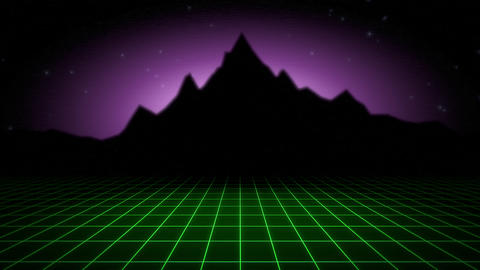 Motion retro abstract background, green grid and mountain Videos animados