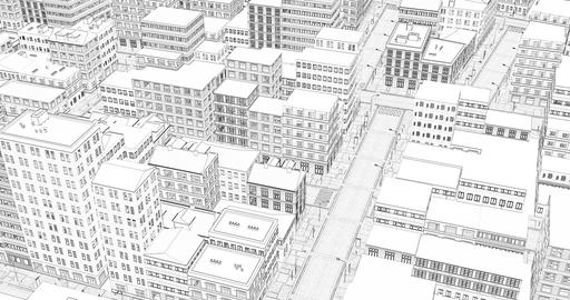 3d wireframe. Urban architecture - illustration. Cityscape sketch, sketch Live Action