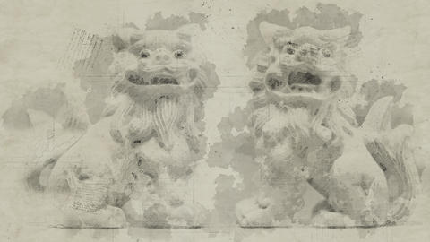 4K Shisa Chinese Home Protector Lions Oriental Vintage Artwork Animation