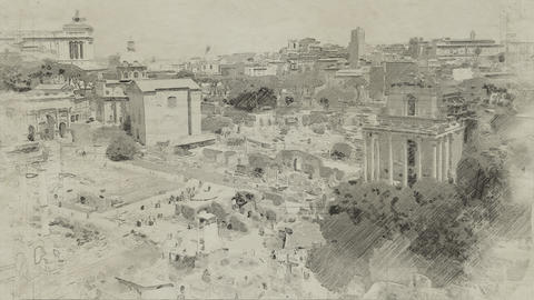 4K Forum Romanum Roman Forum in Italy Rome Vintage Artwork Animation