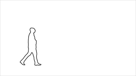 Wire Outline. Animated. Loopable Cinemagraph of a Man Walking in Monochrome Animation