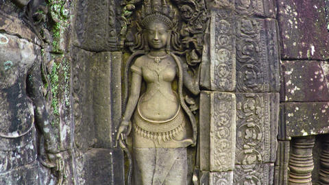 Intricate Bas Relief Sculpture at Bayon Temple. Cambodia Live Action