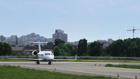 Business jet Bombardier Challenger on the runway Footage