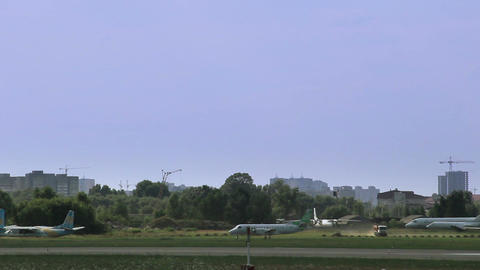Planes steering at aerodrome. Small airport Live Action