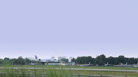 Landing of Canadair CL-600-2B19 Regional Jet CRJ-200LR Footage