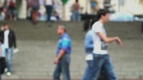 Walking people out of focus defocused, city center, down town Footage