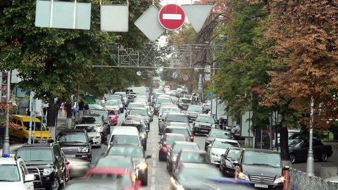 Timelapse of moving cars stuck traffic jam, large city street Footage