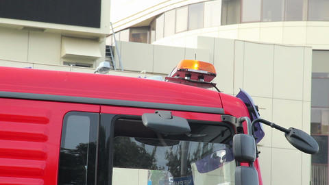 Emergency orange lights on top of truck car, road service Footage