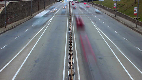Cars vehicles timelapse, city traffic daytime, transportation Footage