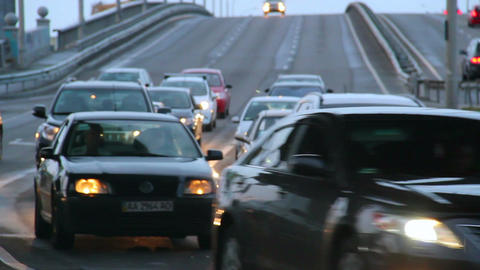 Time lapse passing cars city bridge junction, dusk lights on Footage