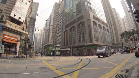 Crossroads at the usual street. Hong Kong Footage