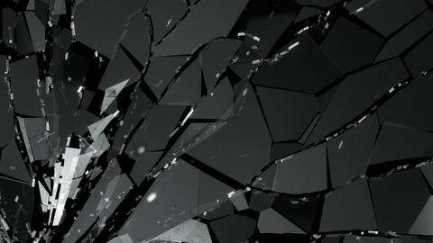Pieces of splitted or cracked glass in slow motion. Alpha matte Animation