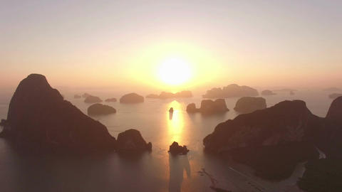 Sunrise above islands in Andaman sea Footage