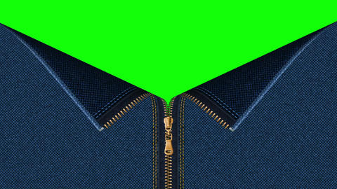 Jeans denim zipper open set with green screen background CG動画素材