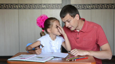 Girl deciding first grader learned something said in confidence dad Footage