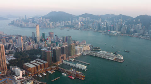 Hong Kong cityscape and harbor from Sky100 observation deck Footage