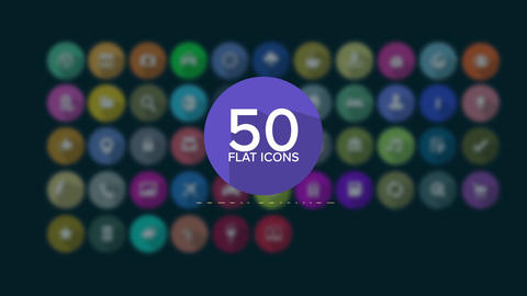50 FlatIcons After Effects Template