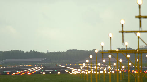 Runway of airport, early morning Live Action