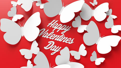 The text of Happy Valentines Day is covered with heart-shaped butterflies Animation