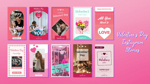 Valentine's Day Instagram Stories After Effects Template