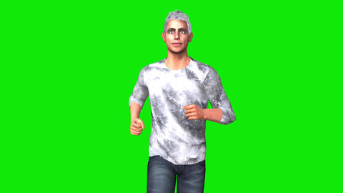 410 3d animated handsome young man with grey hair runs Animation