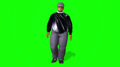432 3d animated fat old man waiting walking talking Animation