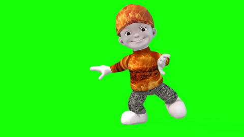 439 3d animated cartoon boy in red costume jestering Animation