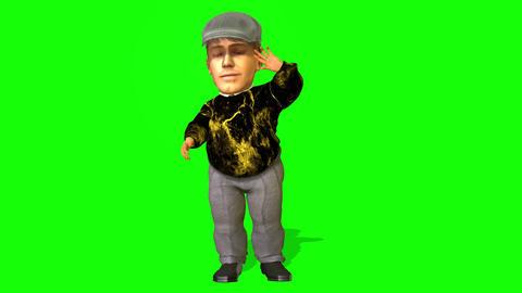 435 3d animated dwarf man walking seats and talks Animation