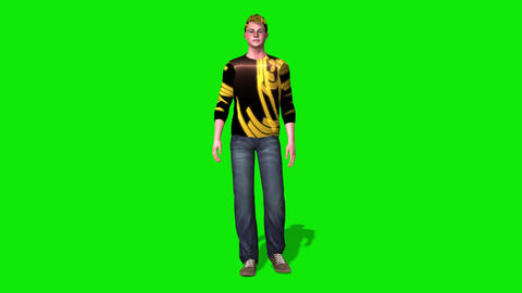 426 3d young man walks slowly by Animation