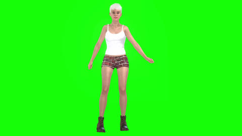 423 3d animated beautiful girl in shorts with sexy dance Animation