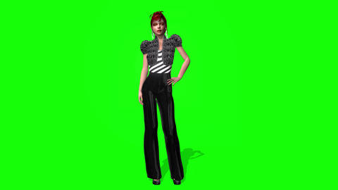 436 3d animated celebrity girl presents herself Animation
