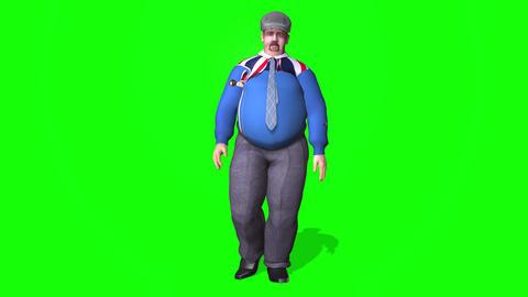 438 3D young fat man walking talking Animation