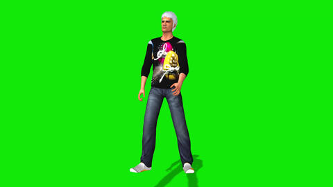 443 3d animated man with white hair beats something or somebody Animation