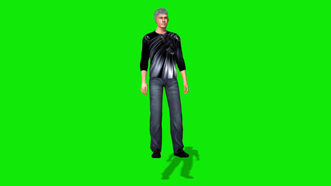453 3d animated young man prove something by view of two cameras Animation